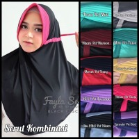 Jilbab Serut Kombinasi Hijab Instan 2 Warna Two Tone