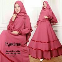 Baju Busana Muslim Gamis Syari Pesta Wanita Jersey Karina Terbaru
