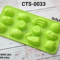 CTS-0033 Cetakan silikon coklat puding buah anggur pisang nanas apel