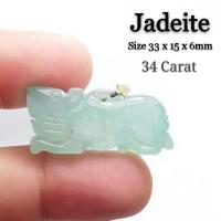 Liontin Batu Ukir Natural Giok Hijau / Jadeite Jade + Memo Asli 02
