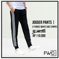 Celana Jogger 3 White Side Stripe (Garis Putih) / Celana Training