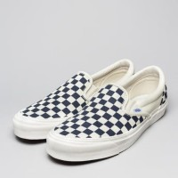 Sepatu Vans OG Classic Slip On Navy Blue White Checker - Checkerboard
