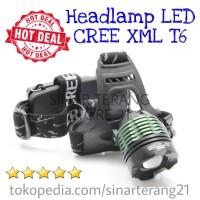Headlamp SUPER TERANG LED CREE XML T6 Senter Kepala Taktikal 2x18650