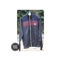 Track top Fred Perry Black Navy Maroon