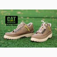 Sepatu safety shoes Wanita safty Caterpillar Low boot ujung besi - Cokelat, 37