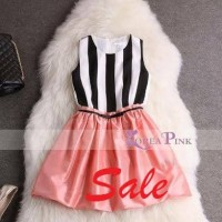 Dress anak perempuan stripe korea pink import