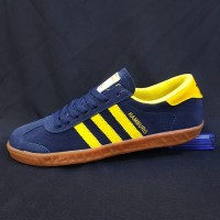 Sepatu Adidas Hamburg Navy Yellow Biru Casual Kerja Kuliah Termurah