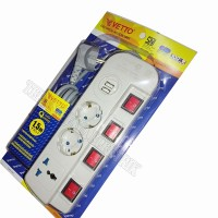 Stop Kontak/Colokan Listrik 1.5m 3Lbg+2 Slot USB Switch Msg2 Vetto SNI