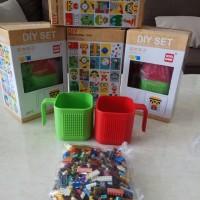 NEW MUG LEGO TERBARU 1set isinya 2pcs gelas+1bgks brick isi banyak