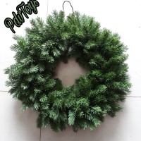 Hiasan Natal Ornamen Wreath Krans Ring Daun Cemara Hijau Muda