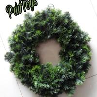 Hiasan Natal Ornamen Wreath Krans Ring Daun Cemara Hijau 2 Warna