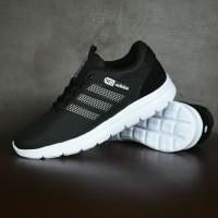Sepatu Sport Casual Pria Adidas Neo Running Hitam Putih