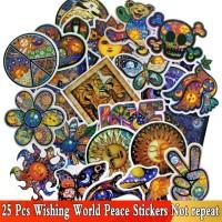 Stiker 177 - Peace Moon Wish Sun Psychedelic Gipsy Koper rimowa travel