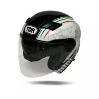 Diskon Helm half face TDR Zeus double visor XD-611- white black