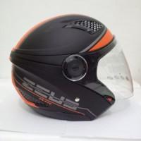 HM-2666 Zeus 610 Matt Black Doff Orange Hitam Dop Helm Double Visor M
