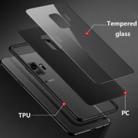 Case Samsung A6 A6 2018 Luxury Tempered Glass Premium Case - Hitam