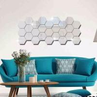 Sticker Dekorasi Dinding Hexagon Mirror Acrylic stiker cermin segi 6