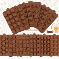 Baru Silikon Cokelat Cetakan 29 Bentuk Cokelat Alat Non-Stick Silikon