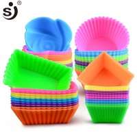6 Pcs Cetakan Silikon Jantung Cupcake Sabun Silikon Kue Cetakan Muffin