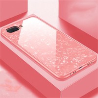 Oppo A3S A5 Realme C1 Luxury Shining Marble Tempered Glass Case - Putih