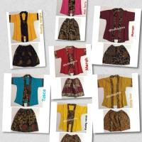 Baju Anak Setelan Kebaya - Kutu Baru Embos Modern - Kebaya Kutubaru - Uk S Merah