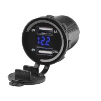 2 in 1 Universal Voltmeter Dual USB 3.1A Charger Motor Mobil Casan HP