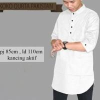 Kemeja Koko Cowok / Pakaian Muslim Pria Kem Qurta Putih Murah