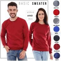 Sweater Fleece Basic Polos Murah Jaket Pria Wanita - Maroon