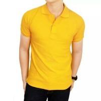 kaos kerah polo shirt polos pria/wanita model terbaru /murah - Kuning, S