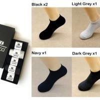 5 Pasang Kaos Mata Kaki / Ankle Socks Anti Bakteri Bau Cotton Spandex