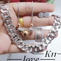 xuping set perhiasan kalung gelang cincin lapis emas putih 24k 0824