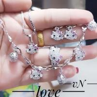 xuping set perhiasan kalung gelang cincin lapis emas putih 0822