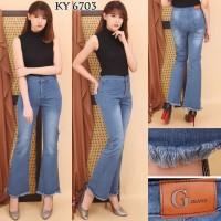 Celana Jeans Wanita Highwaist Cutbray - Biru Muda, Biru, Navy, Hitam