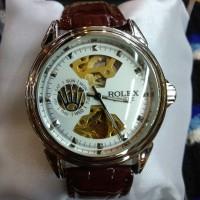 jam tangan pria tali kulit Rolex automatic