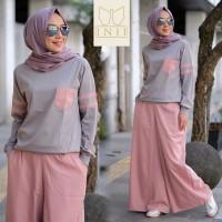 STELAN SHAKILA SALEM KOMB ABU [Hijab 0121] RKH Baju Gamis Wanita