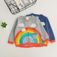 Baju Anak Perempuan   Sweater Rajut Motif Pelangi - Abu-abu