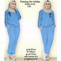 stelan training adidas xxl/baju olahraga wanita/stelan muslim