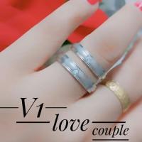 titanium cincin couple lapis emas putih 0941