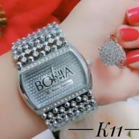 jam tangan wanita plus cincin lapis emas putih 0962