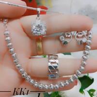 xuping set perhiasan kalung gelang cincin lapis emas putih 0948