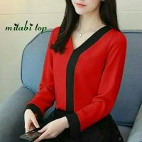 Mitabi top blouse merah Imlek Natal jumbo Bigsize murah