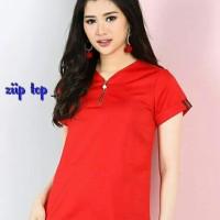 zup top blouse wanita merah imlek natal jumbo Bigsize murah