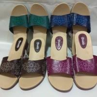 Sandal Karet Wedges | Sendal Selop Wanita Motif Batik H4 cm