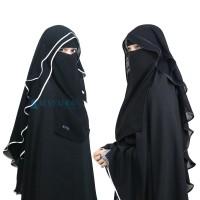 Niqab Butterfly Alsyahra 2 Layer Chiffon Silk Jetblack Exclusive