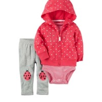 Baju Anak Import Branded Jumper Set Bayi 3in1 Jacket Bayi Love Pink