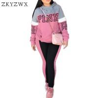 Original ZKYZWX Pink Surat Cetak Olahraga Wanita Plus Ukuran Pakaian