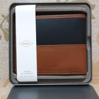 Ready fossil man wallet black brown with tin box original