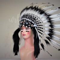 Warbonnet Topi Indian - Hitam Putih
