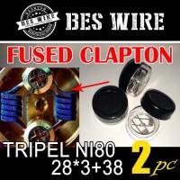 Tripel fused clapton NI80 28*3+38g PREBUILD COIL |PERPASANG