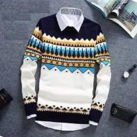 Sweater RAJUT Pria Naz Tribal PUTIH